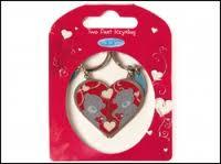 Брелок MTY металлический двойной - мишки в половинках сердца G01K0131