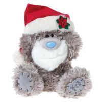 Мишка MTY 20 см. в шапке деда мороза, с бородой